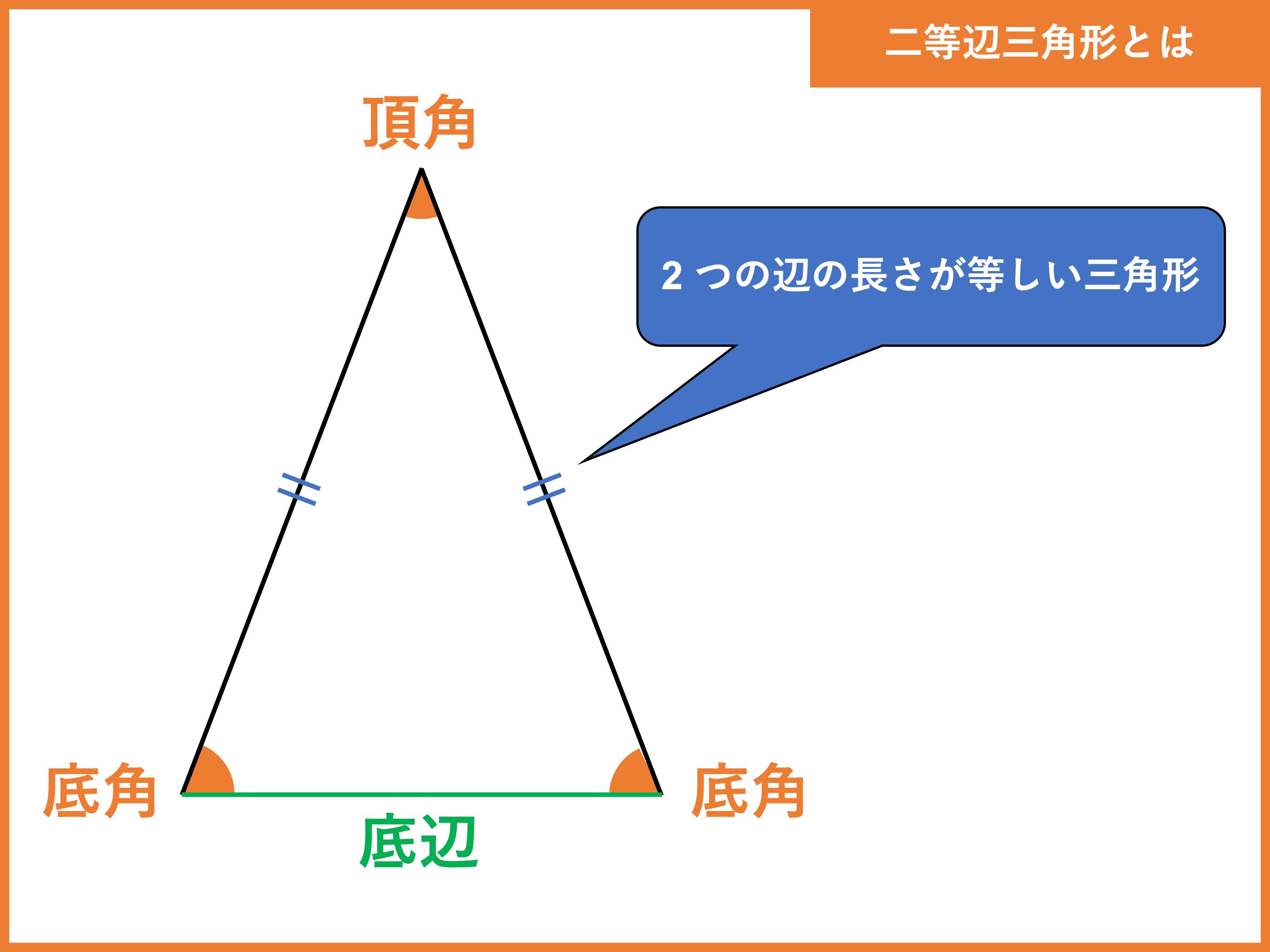 二等辺三角形とは?定義や定理、角度・辺の長さ・面積の求め方   受験辞典